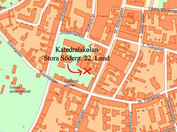 Skräddarsydd karta: Katedralskolan Lund