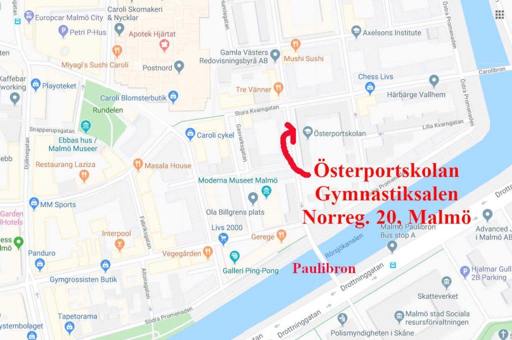 Karta till Österportskolan i Malmö